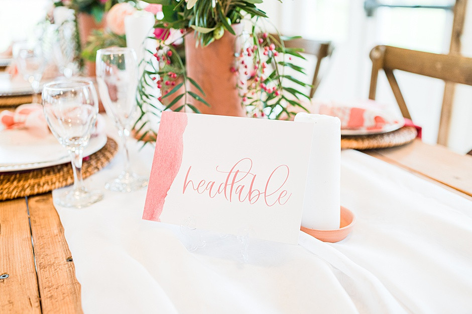 wedding tablescape inspiration with pink flowers, bright colors, white and pink