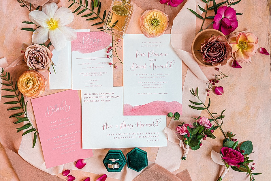Wedding invitation suite, pink flowers, bright flowers, wedding flat lay inspiration, pink wedding invitations