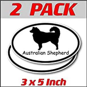 3 x 5 inch Oval (2 Pack)   Australian Shepherd