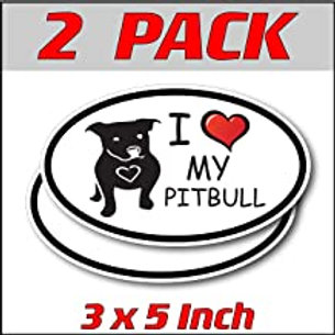 3 x 5 inch Oval (2 Pack) | I Love My Pitbull