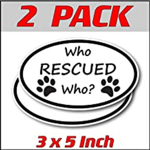 3 x 5 inch Oval (2 Pack) | Who Rescued Who