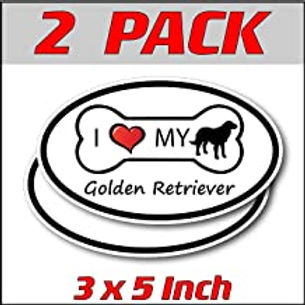 3 x 5 inch Oval (2 Pack) | I Love My Golden Retriever