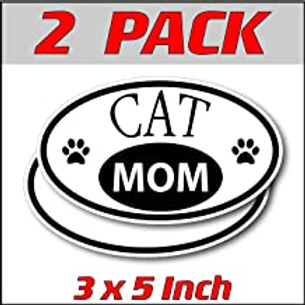 3 x 5 inch Oval (2 Pack) | Cat Mom