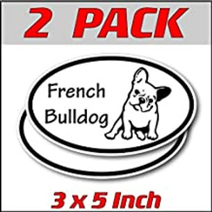 3 x 5 inch Oval (2 Pack) | French Bulldog