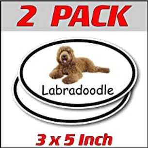 3 x 5 inch Oval (2 Pack) | Labradoodle
