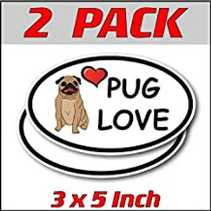 3 x 5 inch Oval (2 Pack) | Pug Love