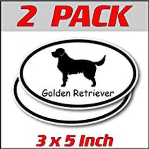 3 x 5 inch Oval (2 Pack) | Golden Retriever