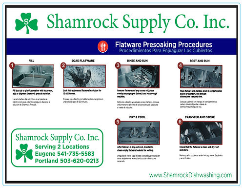 Flatware Presoak Instructions (Sheet of 8)