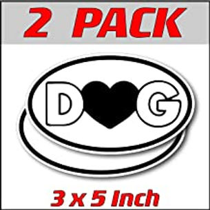 3 x 5 inch Oval (2 Pack) | Dog Heart