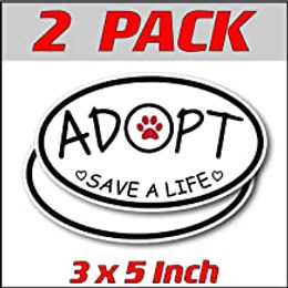 3 x 5 inch Oval (2 Pack)   Adopt Save a Life