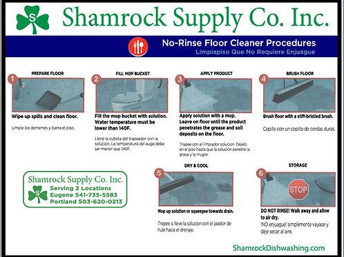No Rinse Floor Instructions (Sheet of 6)