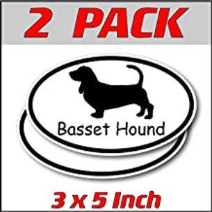 3 x 5 inch Oval (2 Pack) | Basset Hound