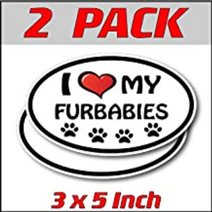 3 x 5 inch Oval (2 Pack)   I Love My Furbabies