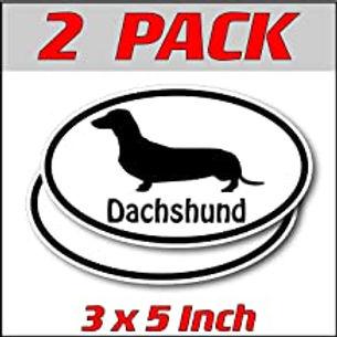 3 x 5 inch Oval (2 Pack) | Dachshund