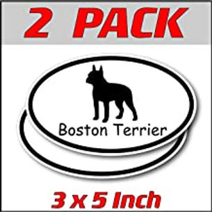 3 x 5 inch Oval (2 Pack)   Boston Terrier