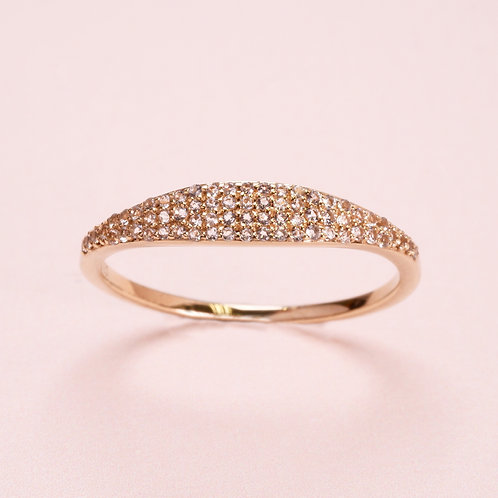 9k Yellow Gold Pave Signet White Sapphire Ring