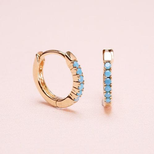 9k Turquoise Huggie Earring