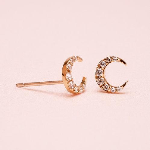 14k Crescent Moon Diamond Earring