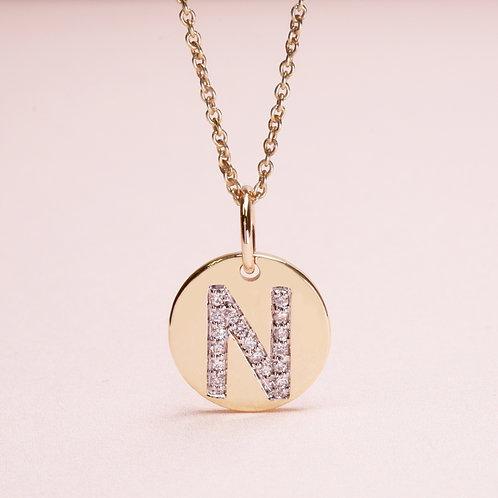 9k N Diamond Coin Pendant