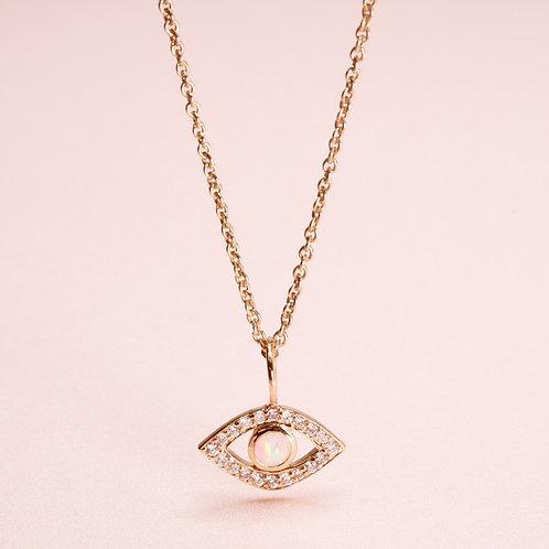 9k Evil eye Pendant With Opal/Sapphire and Diamond