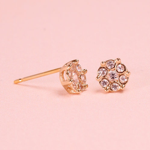 9K White Sapphire Stud Earring