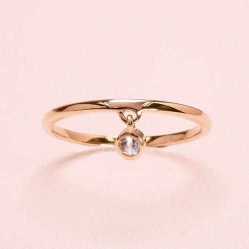 14k Yellow Gold White Sapphire Ring