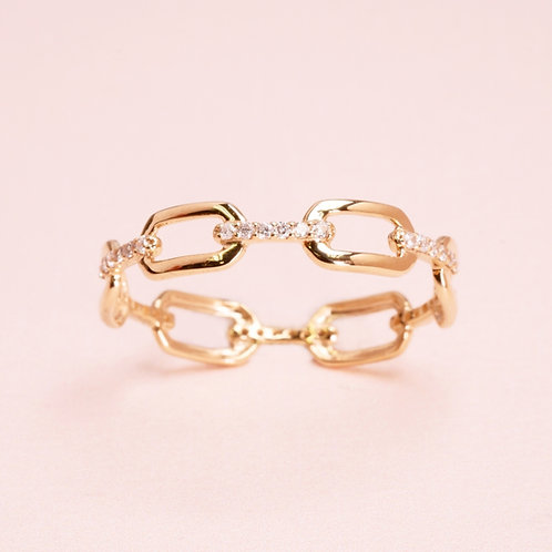 9k Chain Diamond Pave Ring