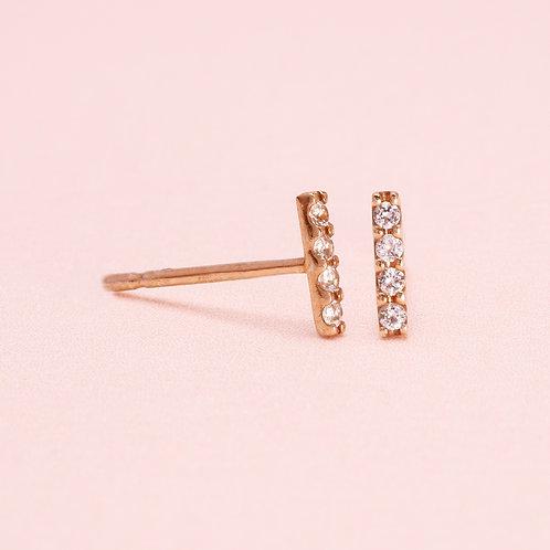 9K Four White Sapphire  Stud Earring