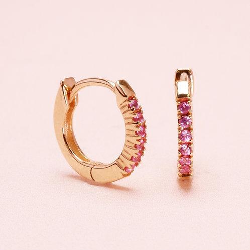 9k Ruby Huggie Earring