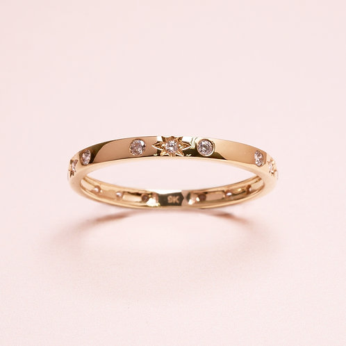 9k Diamond Star Ring