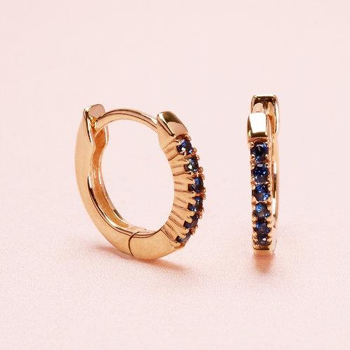 9k Blue Sapphire Huggie Earring
