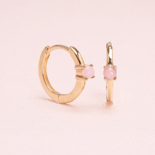 9k Pink Opal Huggie Earring