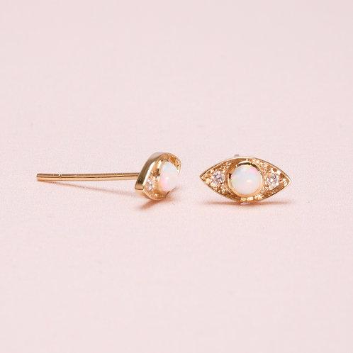 9K Opal & Diamond Stud Earring
