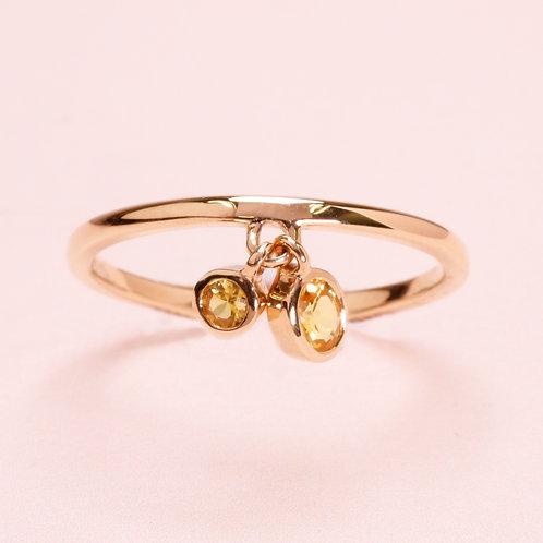14k Rose Gold Yellow Sapphire Ring