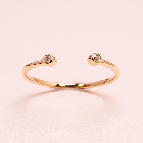 9k Bezel Diamond Open Ring