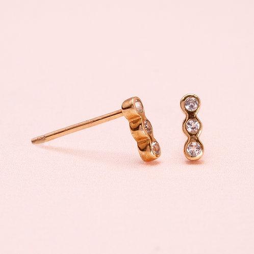 14K Three WhiteSapphire Stud Earring