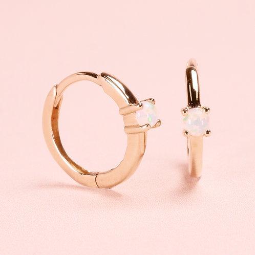 9k Opal Huggie Hoop Earring