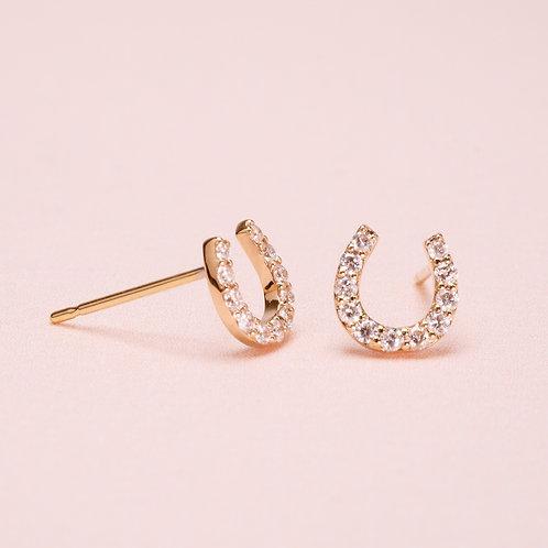 14k Horse Shoes Diamond Earring