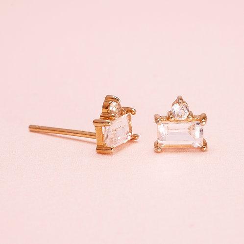 9KBaguette & Round WhiteSapphire Stud Earring