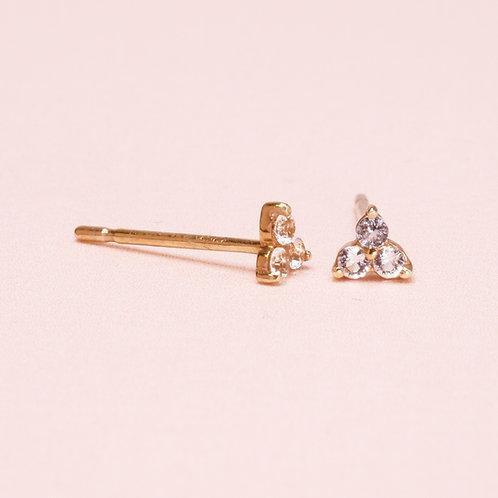 9K Three WhiteSapphire Stud Earring