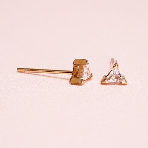 9k Triangle Stud Earring