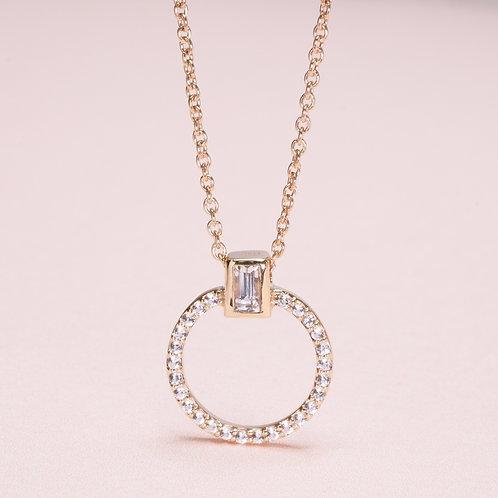 9k Circle White Sapphire Necklace