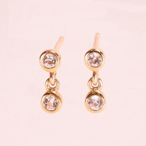 9k Two Bezel Setting White Sapphire Earring