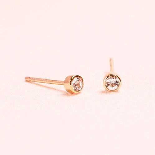 9K Bezel Setting Diamond Stud Earring