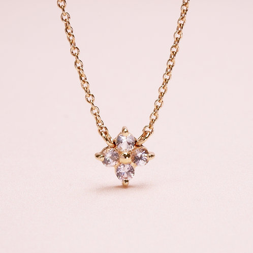 14k Four Leaf Clovers Delicate Necklace