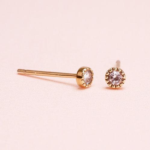 9K Bezel Setting White Sapphire Stud Earring