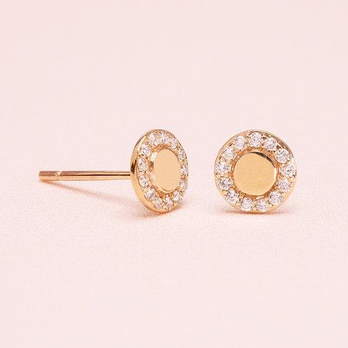 9K Halo Diamond Earring
