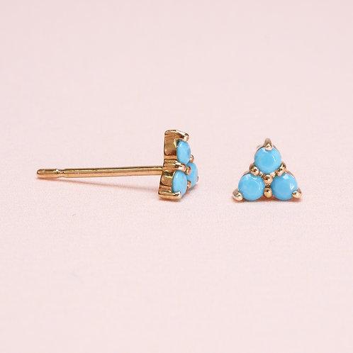 9K Triangle Turquoise Stud Earring