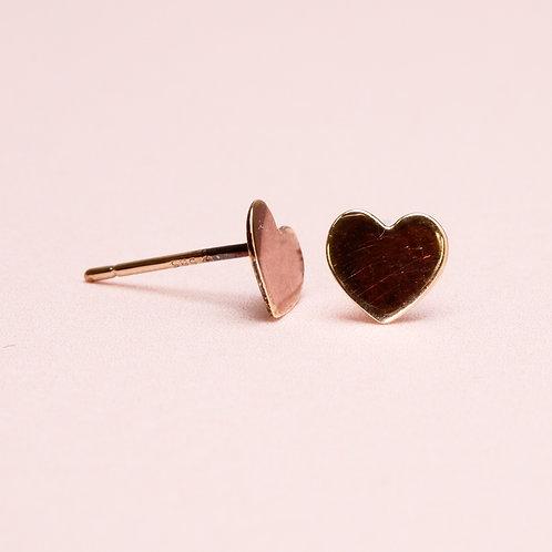 14k Love Heart Stud Earring