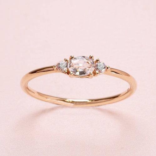 14k Rose Gold White Sapphire Ring